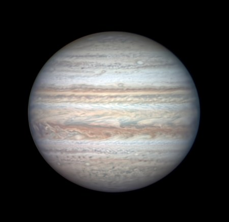 Jupiter on July 26, 2020 (non-Great-Red-Spot side)
