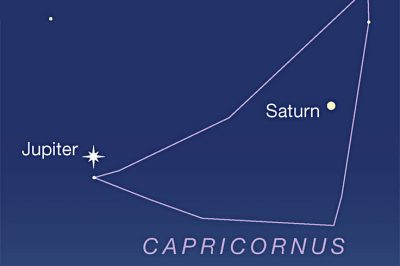 Jupiter and Saturn in Capricornus, late Sept. 2021