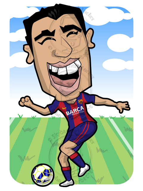 suarez cartoon, suarez charicature, suarez barca