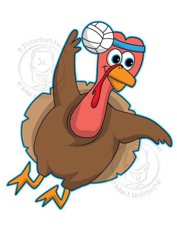 turkey cartoon, turkey clipart, volleyball turkey