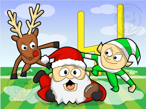 santa football, reindeer football, santa sports, elf football, christmas clipart