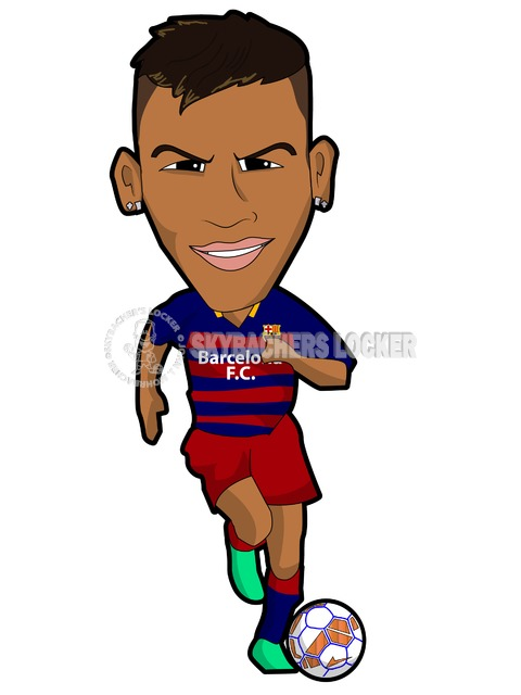 Neymar - Barca - cartoon