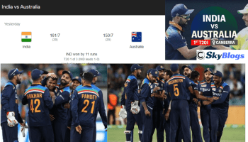 INDIA VS AUSTRALIA 1ST T20 - INDIA WON BY 11 RUNS, TOOK LEAD 1-0 IN THE SERIES