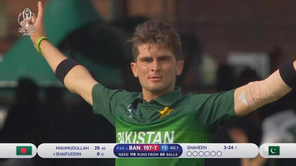Shaheen Shah Afridi is the youngest player to take a 5-wicket haul in the ICC World Cup history against Bangladesh at Lord's on 5th July 2019.