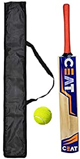 Poplar Willow Wooden Cricket Bat with Tennis Cricket Ball (Combo) for Boys Red and Bag Cover