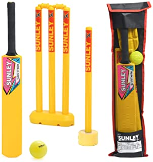 SUNLEY Plastic Cricket kit for All Age Groups and Sizes (1 Piece Cricket Bat, 4 Piece Wickets, 2 Piece Base, 2 Piece Bails, 1 Piece Wind Ball, 1 Piece Kit Bag)