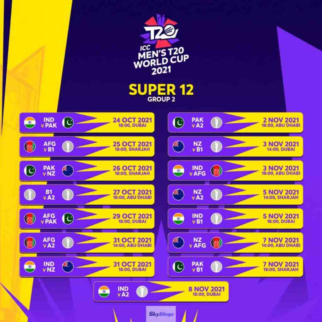 T20 World Cup 2021 Fixture: super 12 Group 2