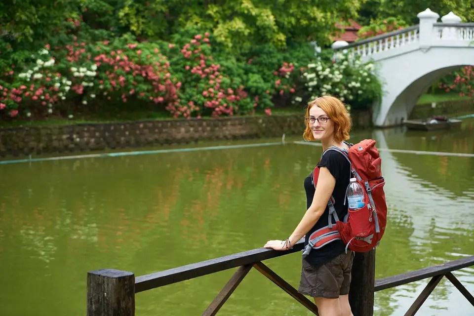 Tourist Backpack Navigator Girl Women's Beautiful