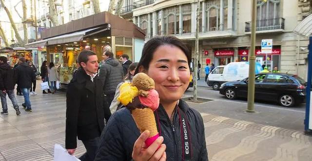 Barcelona Tourist Loving Ice Cream