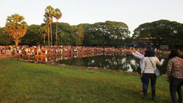 Crowd Waiting for Sunrise Angkor Wat