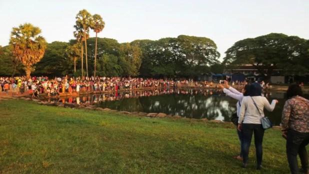 Crowd Waiting for Sunrise Angkor Wat