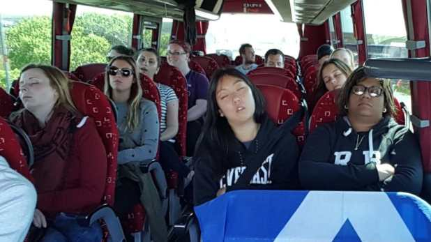 Group Asleep on Bus