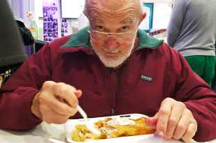 Dad with Fish and Chips for Dinghy Story