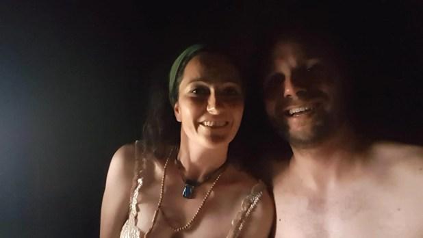 Martina and I in the sauna