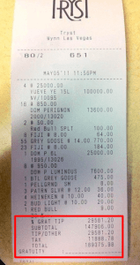 Drinking Receipt in Las Vegas