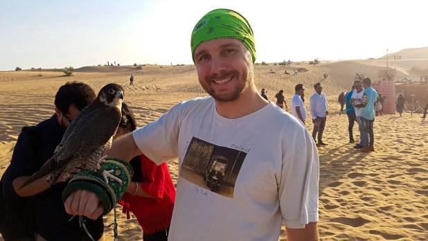 Seflie with Falcon at Desert Safari