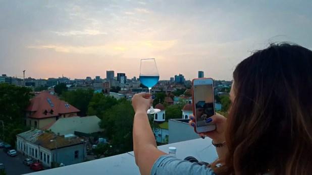 Blue Chardonnay at Sunset