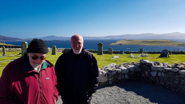Dad and Rob at Trumpan Church