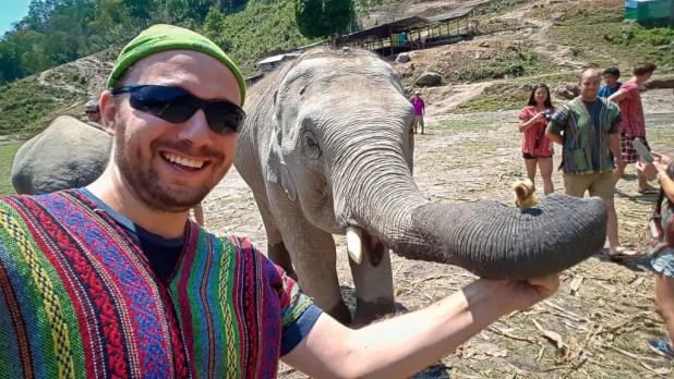 Feeding Selfie at Elephant Jungle Sanctuar