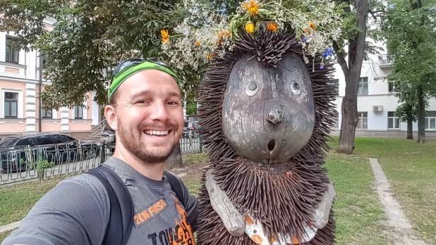 Selfie with Hedgehog Sculpture