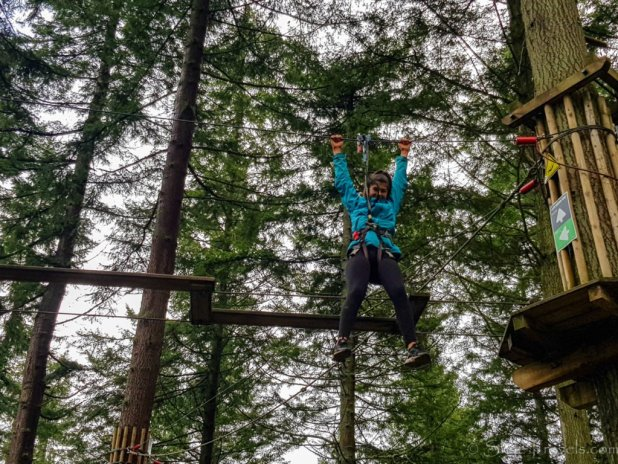 Hanging from the Wire at Go Ape Peebles