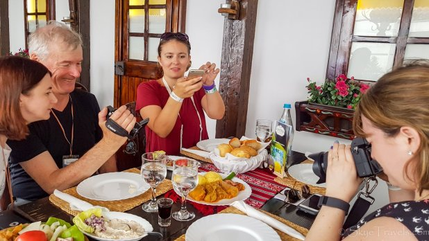 Foodies at Vatra Restaurant on Bucharest Food Tour