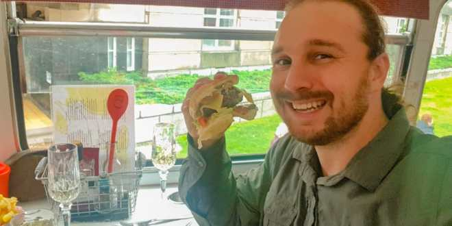 Selfie with Red Bus Bistro Burger Tour