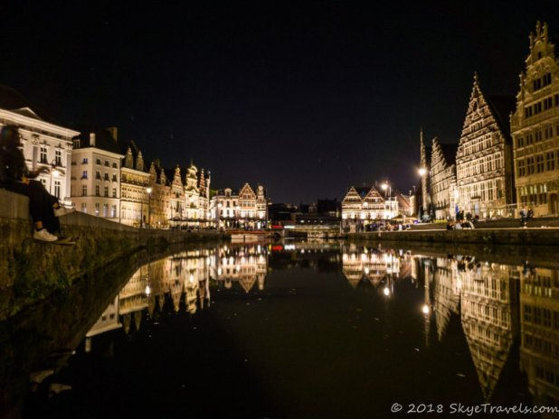 River Leie at Night in Ghent