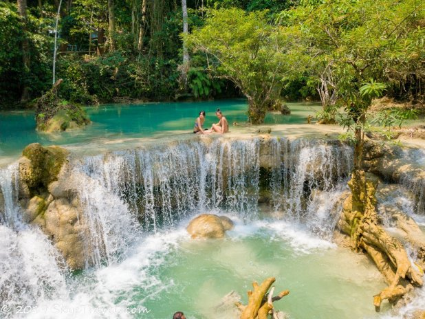 Kuang Si Waterfalls with Two Girls