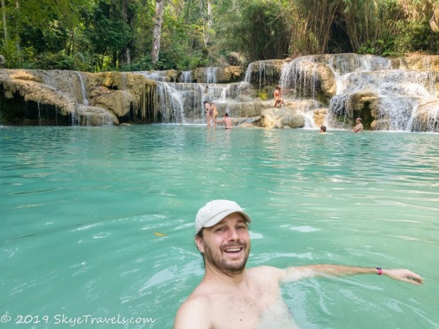 Selfie Swimming at the Kuang Si Waterfalls