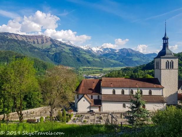 View from Gruyeres Castle in Switzerland