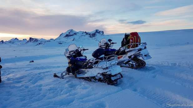 Snow Mobiles on Langjokull Glacier