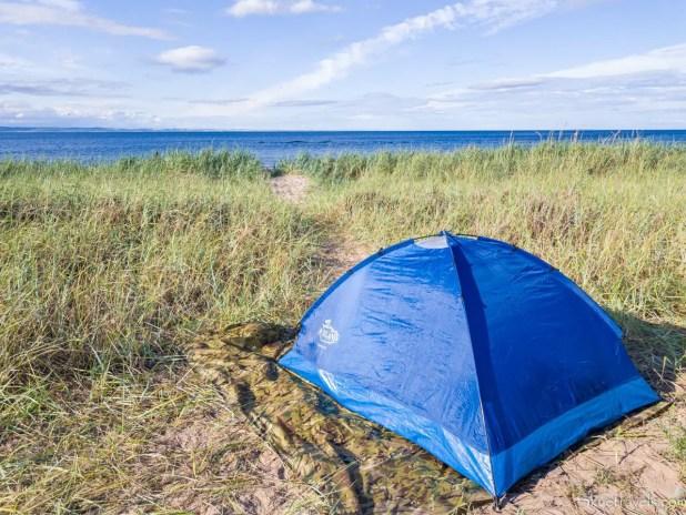 My Tent at Yellowcraig Beach