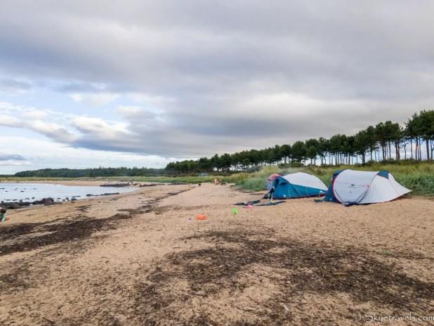 Tents on Yellowcraig Beach