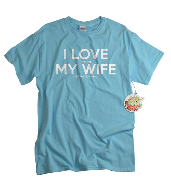Christmas gifts for Pilots - Aeroplane underwear I love my wife tshirt