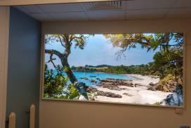 Virtual window with beach scene