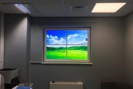 Office room with fake window light