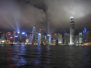 Wieczorny pokaz świateł w Hong Kongu