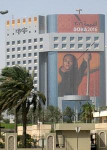 Łucznictwo po katarsku - promocja Olimpiady w Doha 2016 na Rydgesie