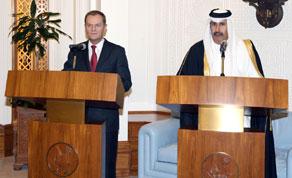 Donald Tusk i katarski minister