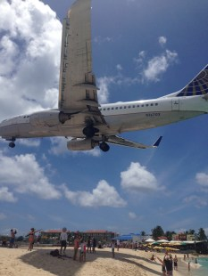 The planes coming in over Maho Beach, St Maarten.
