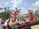 The girls on the anchor at the waterfront in Gustavia.
