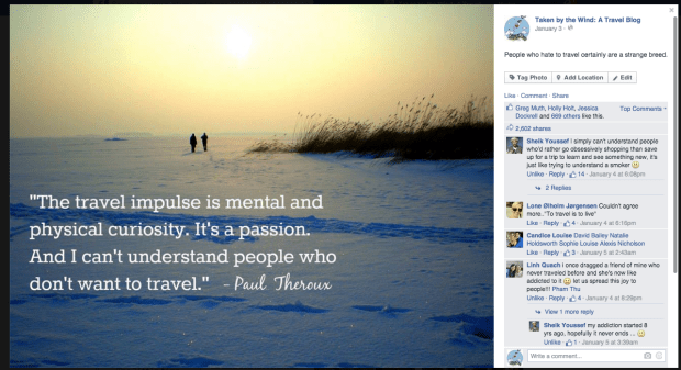 travel quote social media post