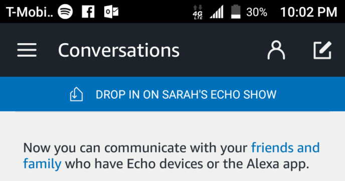 The Drop In button on the Alexa App
