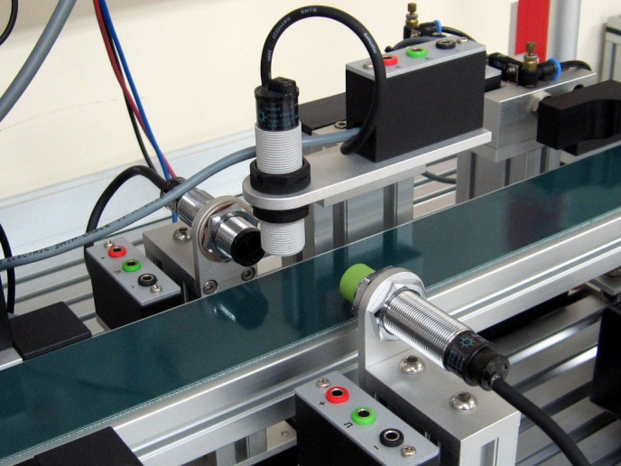 Proximity sensors set up on an automation line.
