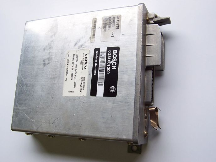 An Engine Control Module, or ECM, from a Volvo.