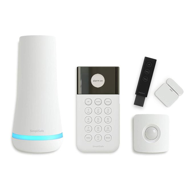 SimpliSafe 5-piece security system.  Shown is the Base Station, Wireless Keypad, Motion Sensor, Entry Sensor, and Key Fob.