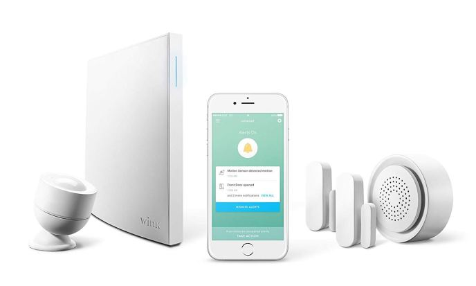 The Wink Lookout Smart Security Kit - depicted in the image are the Wink Hub 2, two door & window sensors, a motion sensor, the Wink Siren, and the Wink app on a smart phone.
