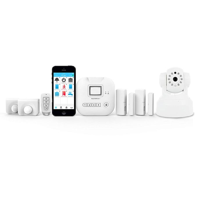 The Skylink SK-250 Security Starter Kit Plus.  The image shows 2 motion sensors, a keychain transmitter, the app on a smart phone, the hub or controller, 2 contact sensors, and a camera.