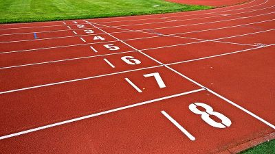 "An image of a starting line on a track. Used on a smart home link roundup under the heading, ""For those who are just getting started."""
